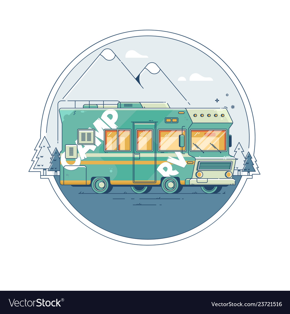 With a retro camper on background