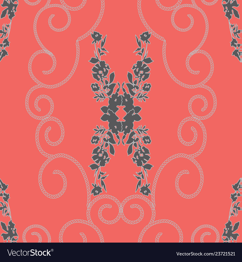 Abstract mirrored roses and chain spirals pattern