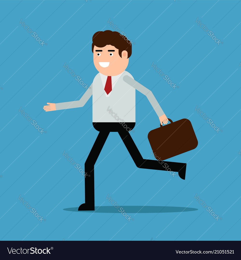 Businessman running with a diplomat