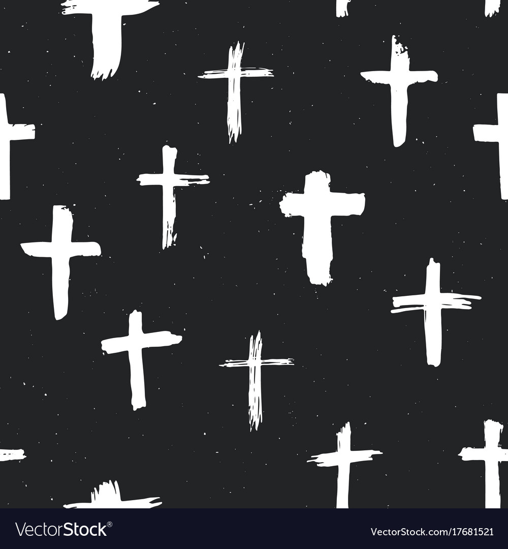 Cross symbols seamless pattern grunge hand drawn