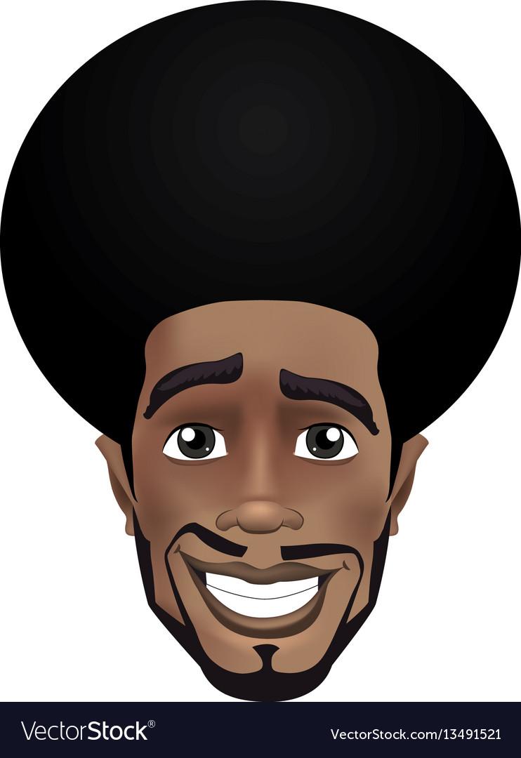 Cute beard afro smiling black guy face avatar
