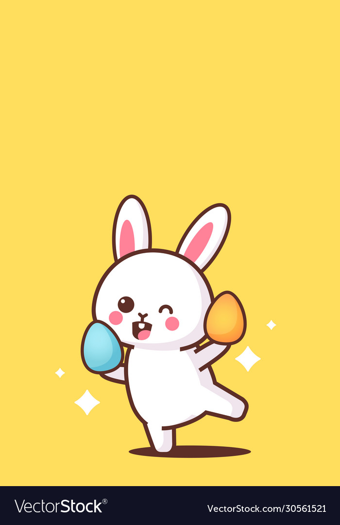 Cute rabbit holding eggs happy easter bunny