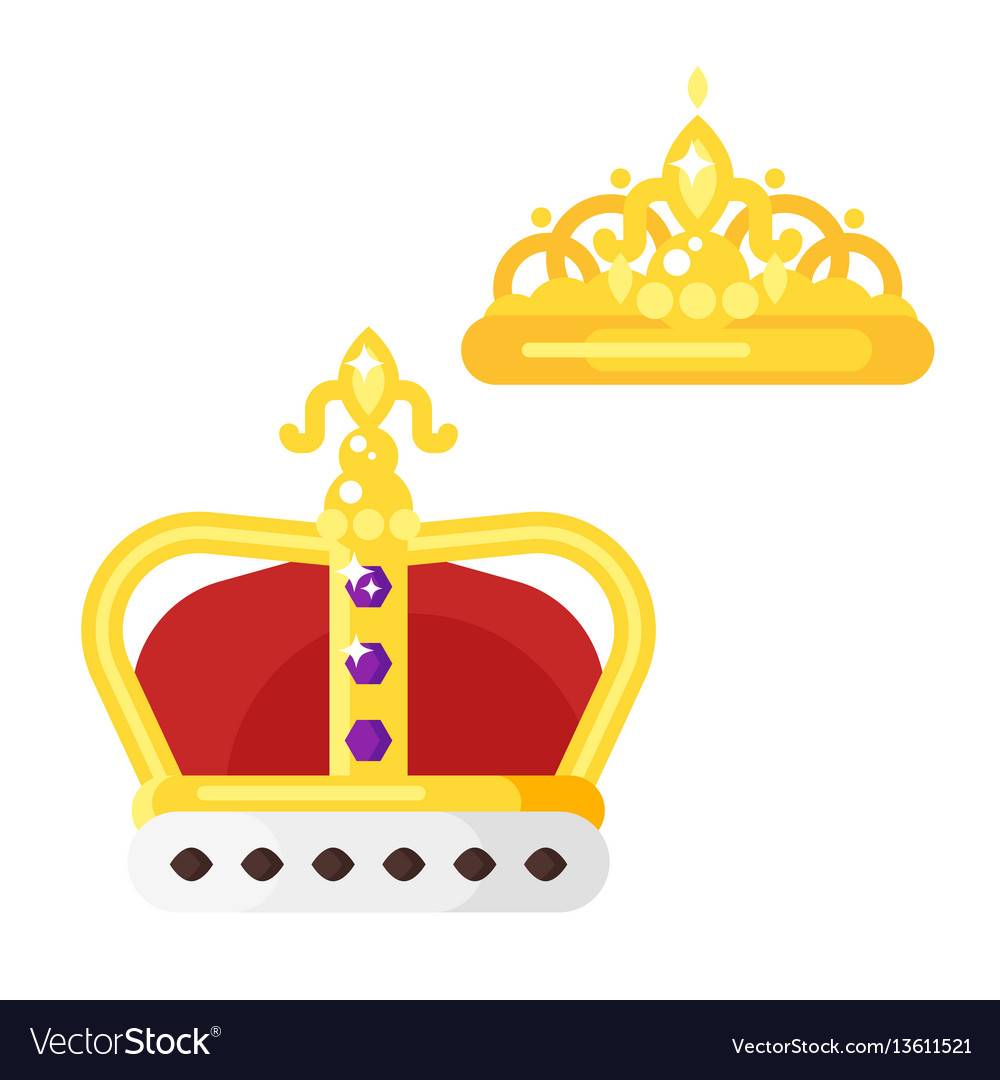 Flat style of golden crowns