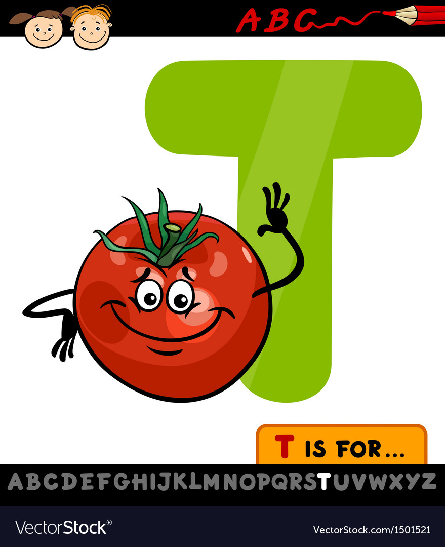 Letter T With Tomato Cartoon Vector Image