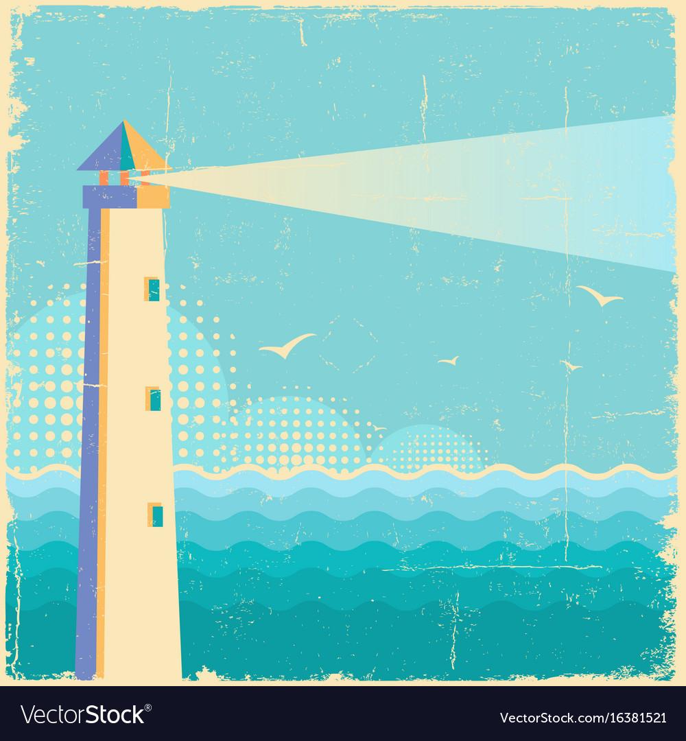 Lighthouse vintage postervintage sea waves