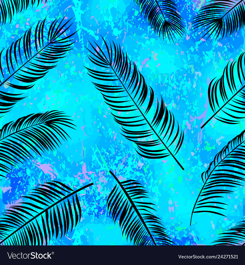 Seamless pattern with silhouette palm