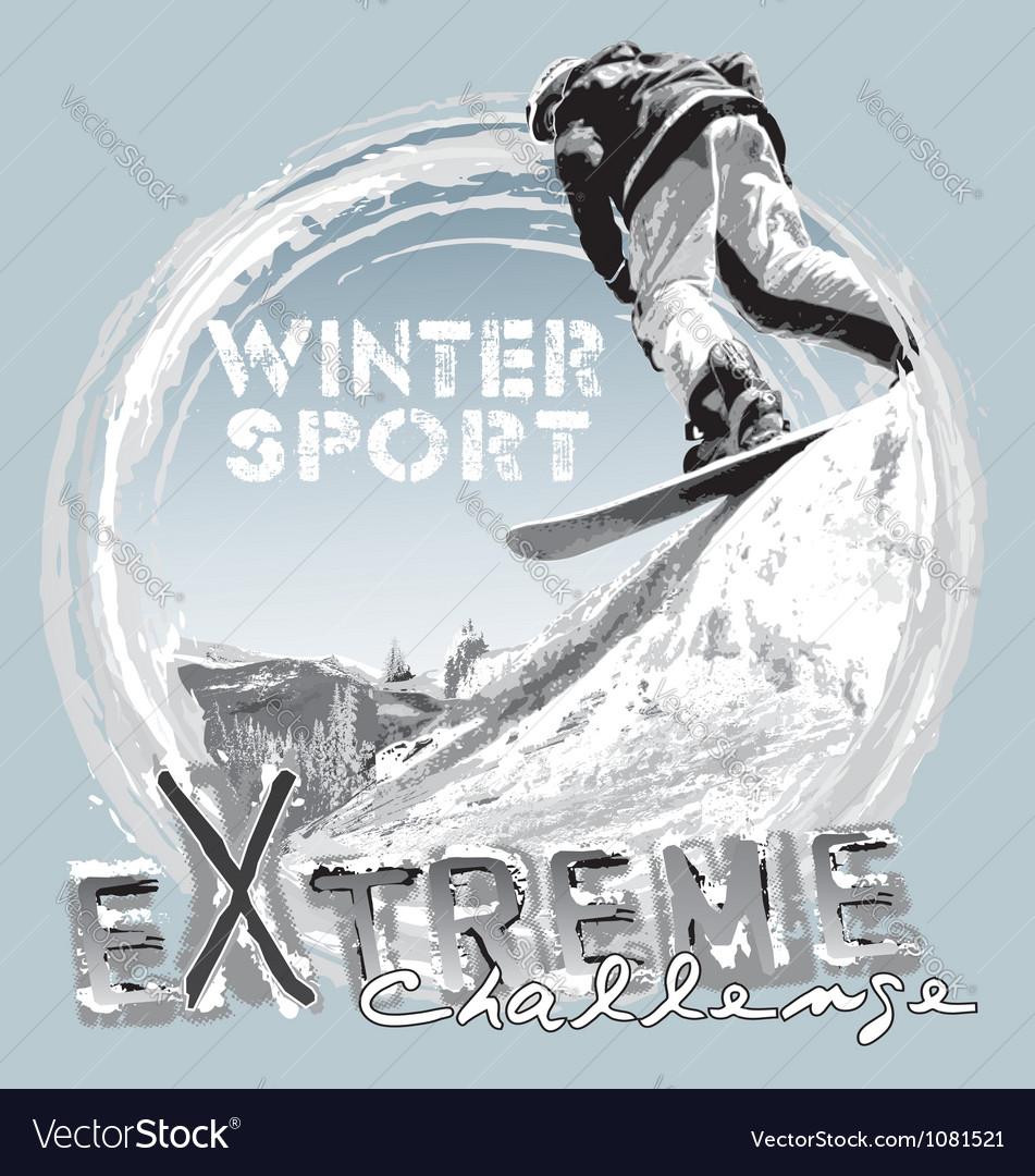 Snowboard free jump vector image