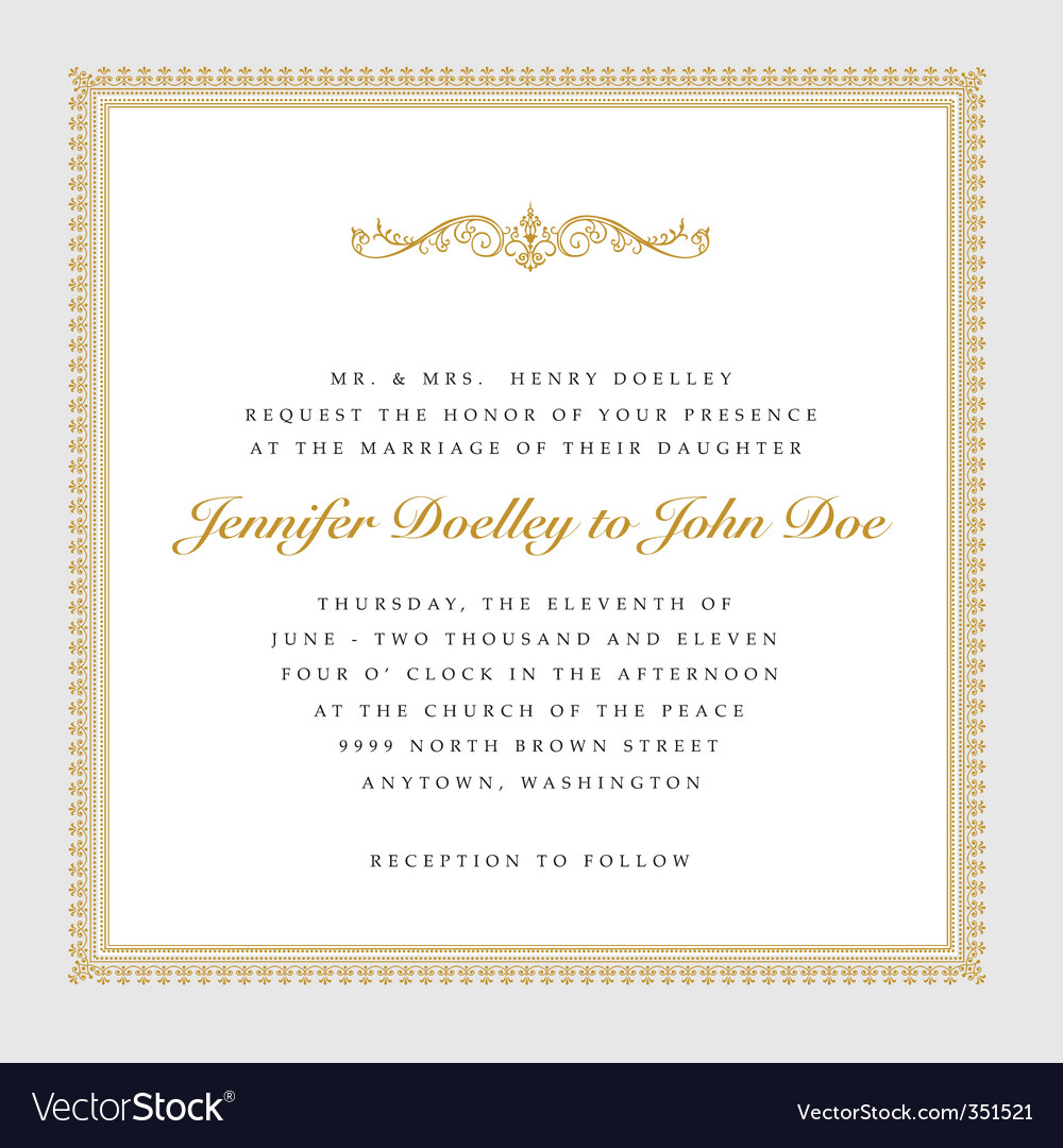 Vector square gold wedding frame Royalty Free Vector Image