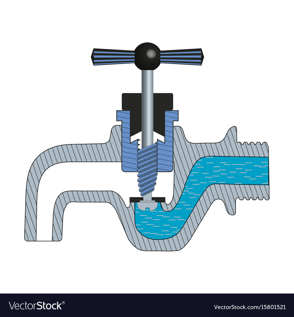 Water tap with falling drop vector image