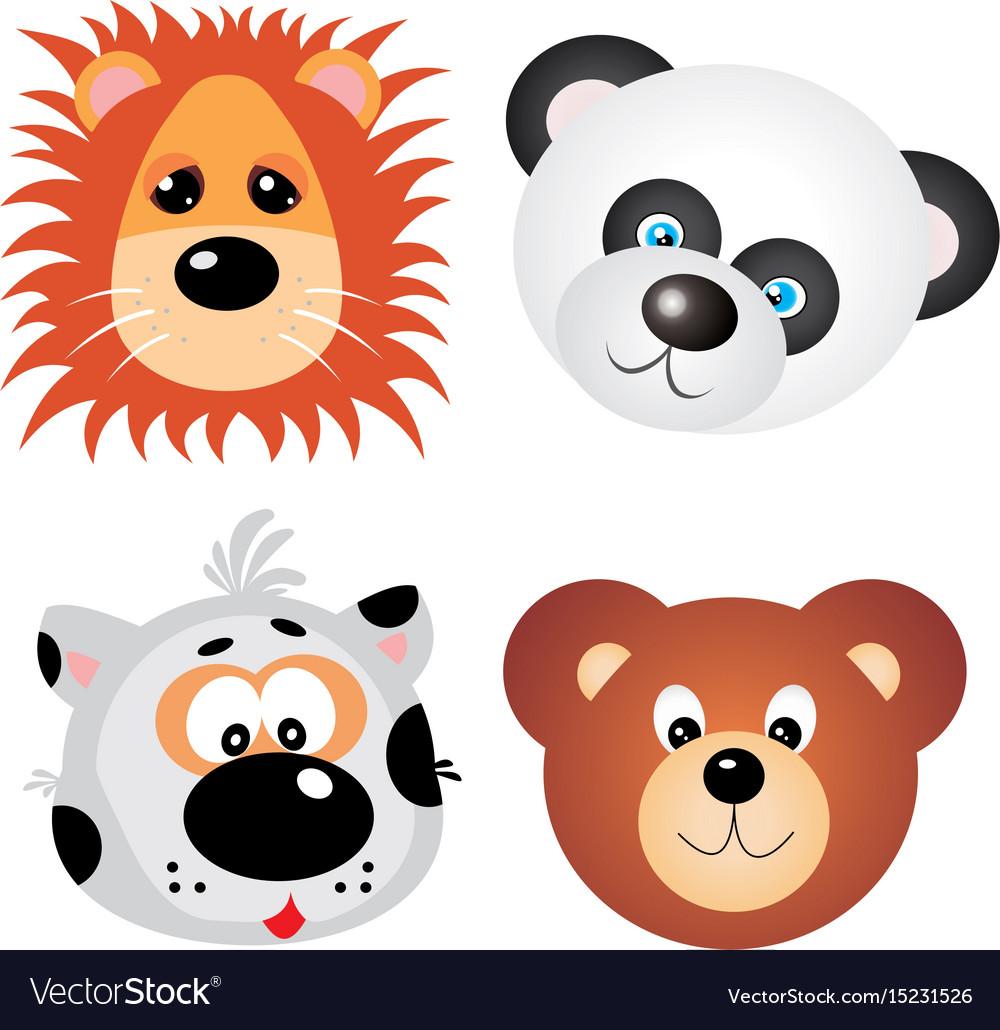 Animal faces clip art design