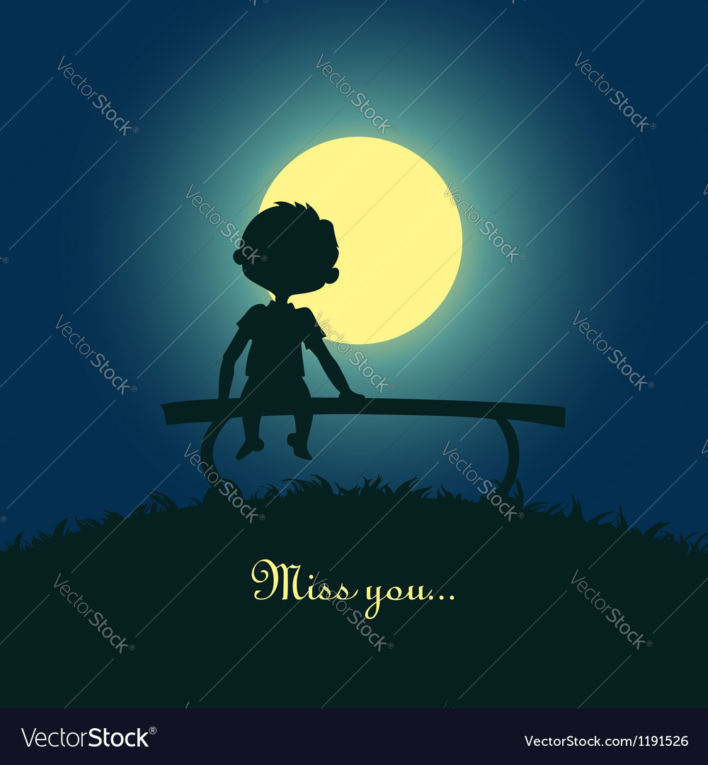 Boy sitting lonely in the moonlight vector image