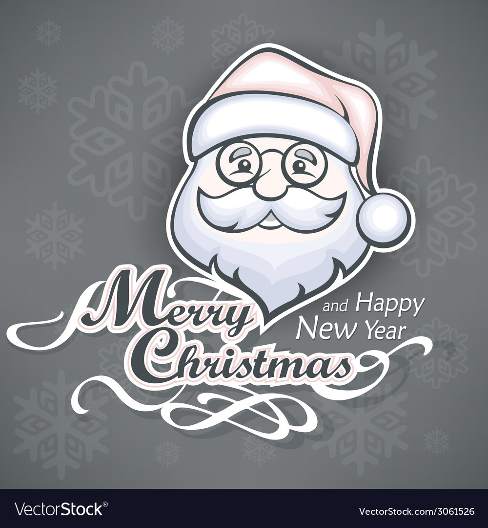 Cheerful Santa face on grey