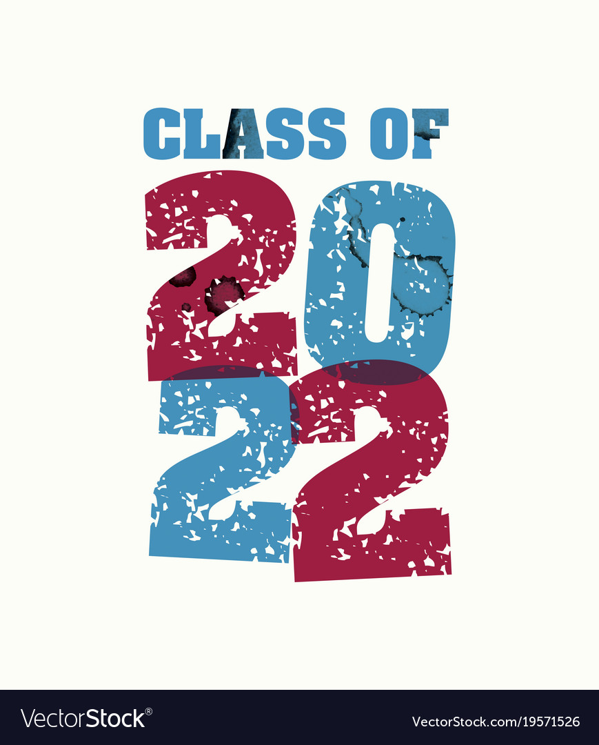 Class of 2022 concept stamped word art vector image