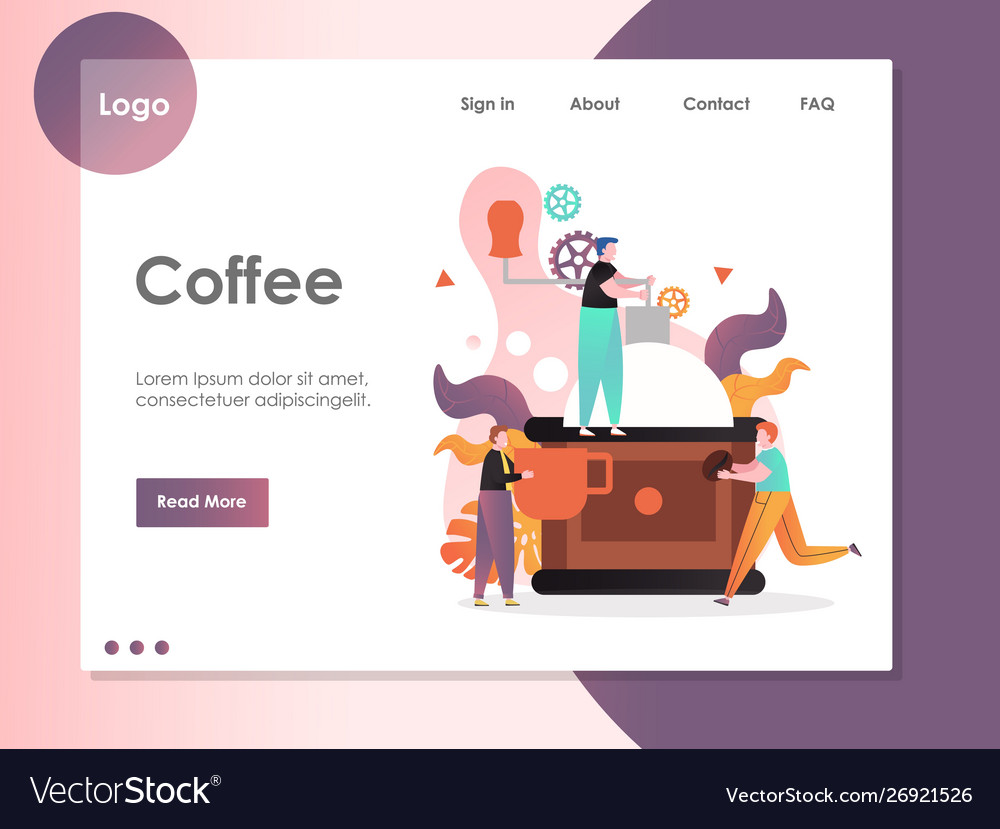 Coffee website landing page design template