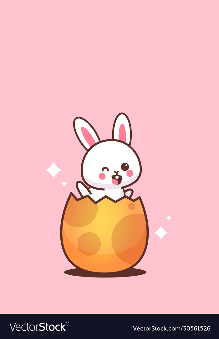 Cute rabbit sitting in egg happy easter bunny