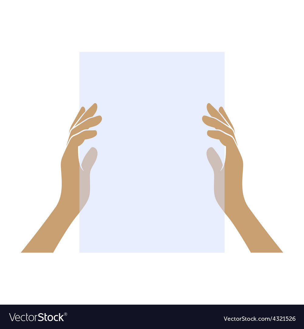 Hands Holding Blank Paper on White Background