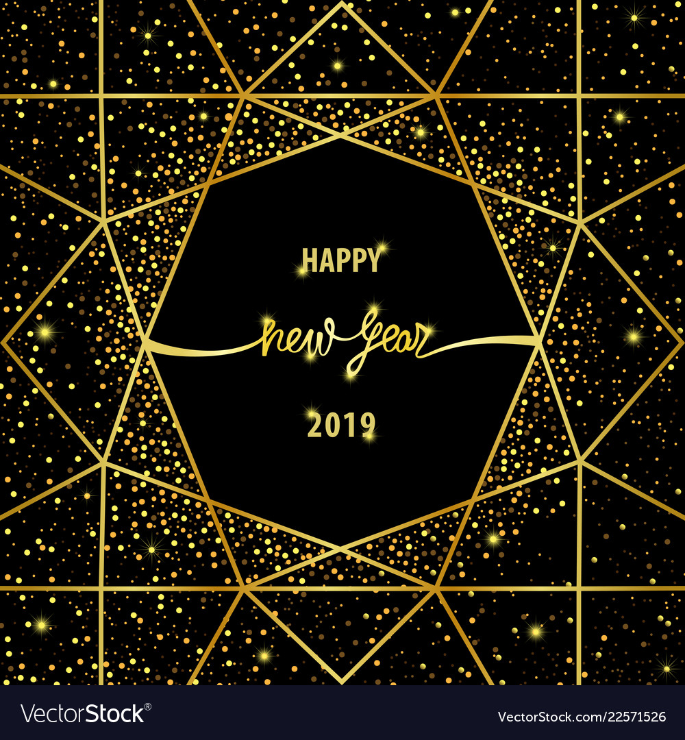 Happy new year 2019 card with gold glitter