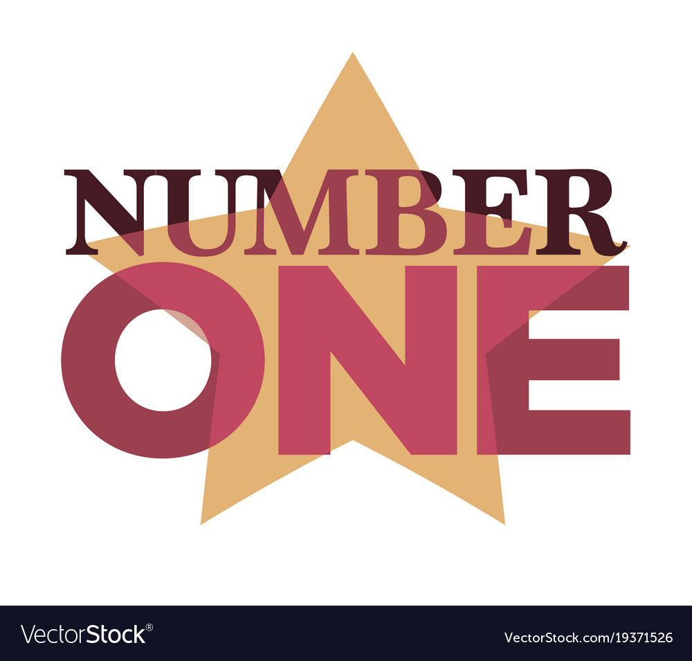 Number one emblem with stars and ribbons around vector image
