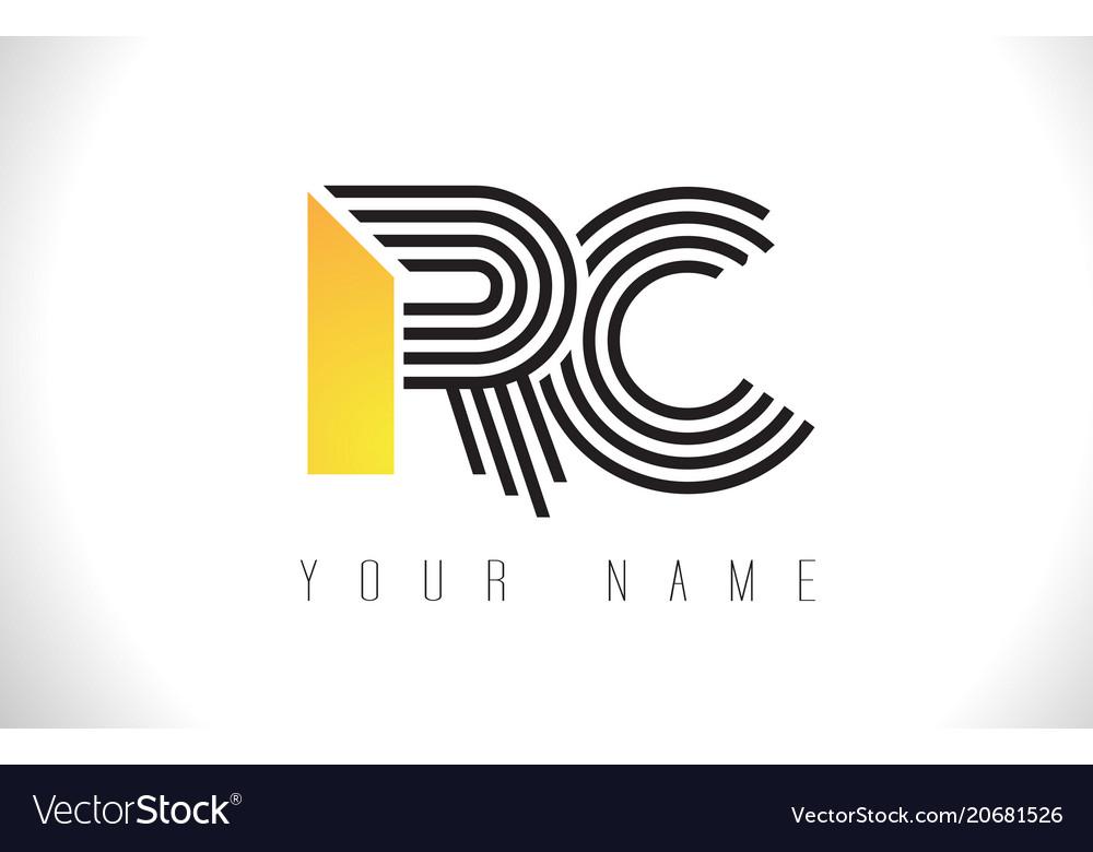 Rc black lines letter logo creative line letters