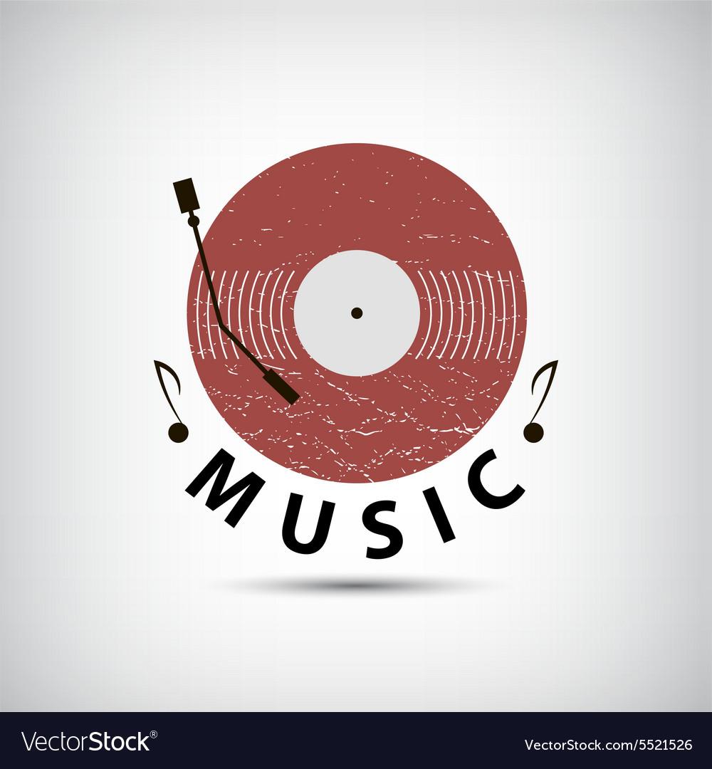 Retro vinyl music logo icon