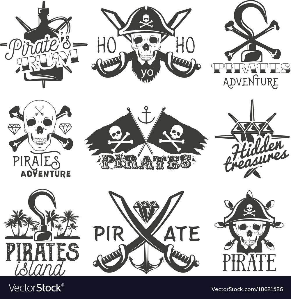 Set of pirates logos emblems badges vector image