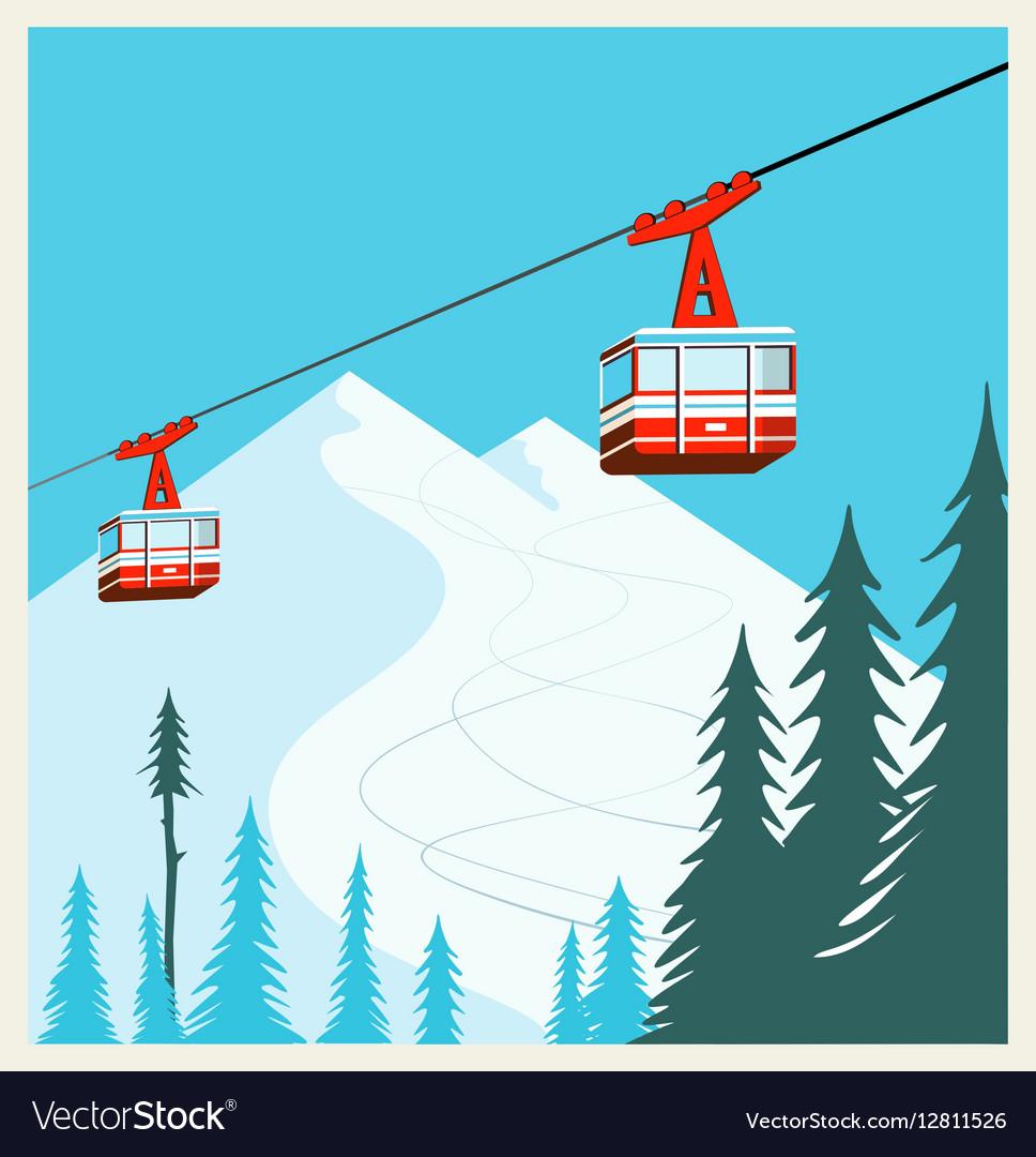 Vintage Winter cartoon background poster Red ski