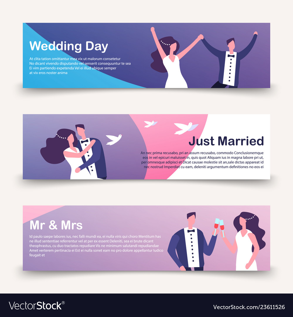 Wedding banners template with cartoon