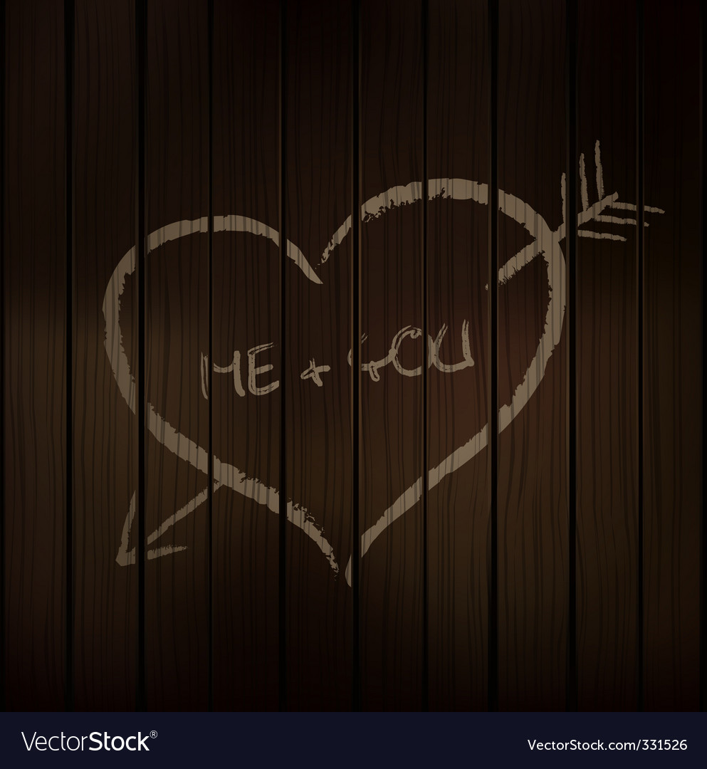 Wood chalk heart vector image