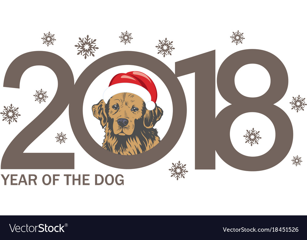 Year of the dog 2018 template new years design on vector image