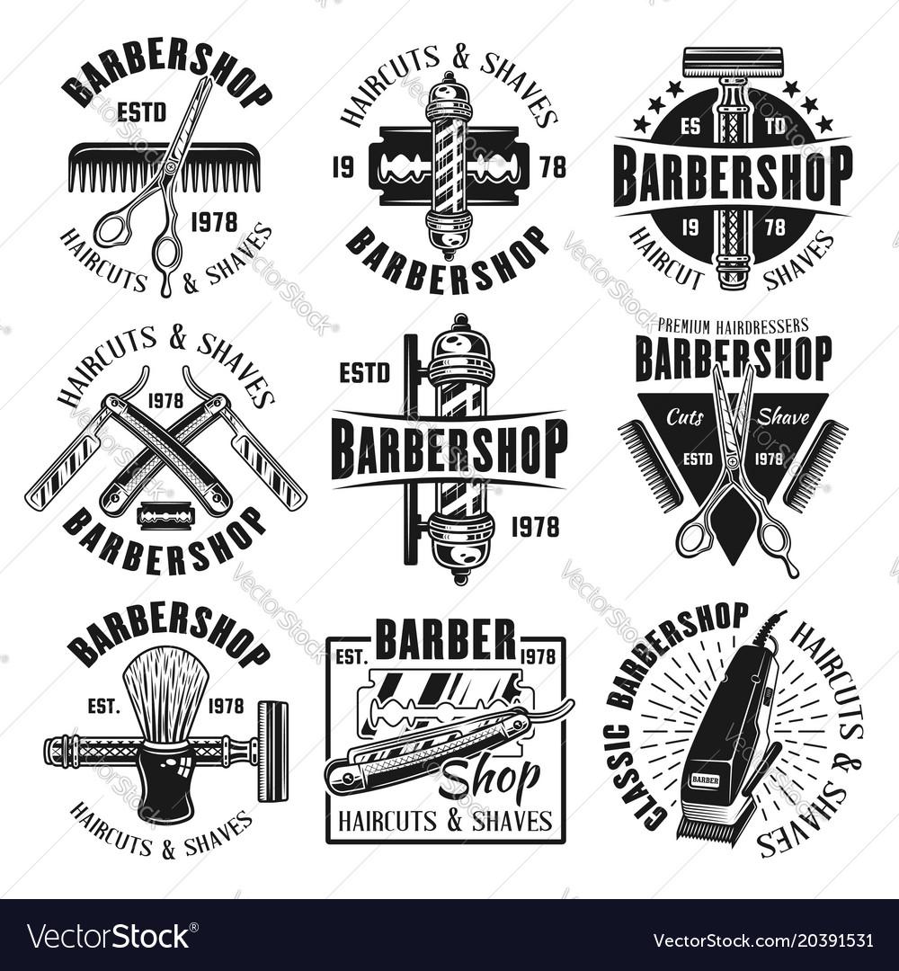 Barbershop monochrome emblems badges or labels
