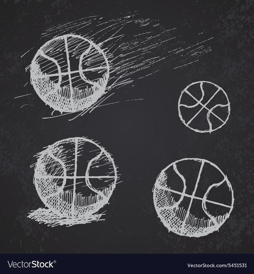 Basketball ball sketch set on blackboard