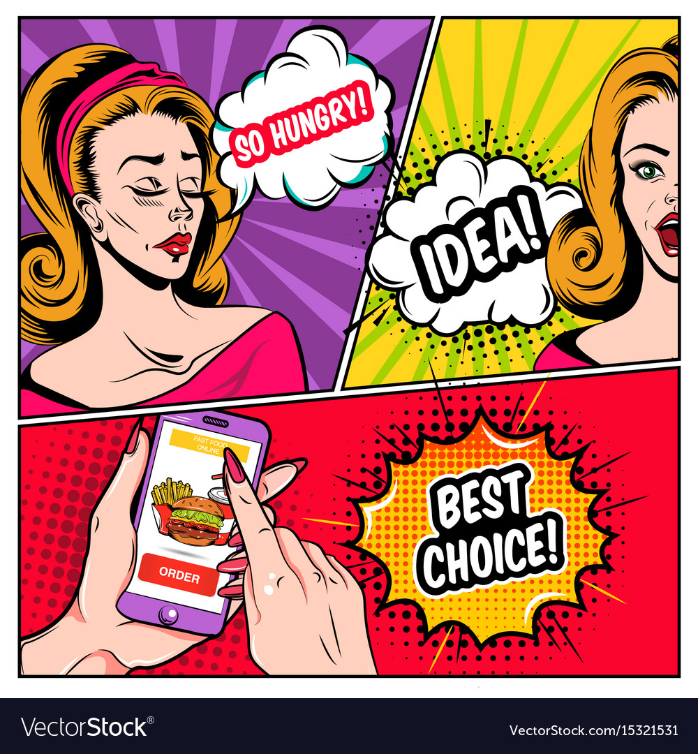Comic Online Shopping Template Royalty Free Vector Image