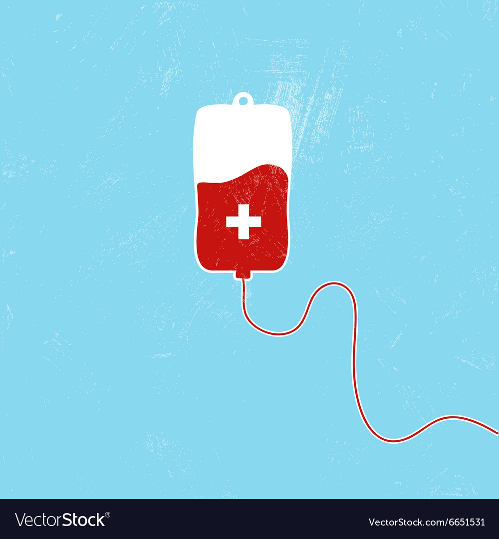 Donate blood bag on blue background