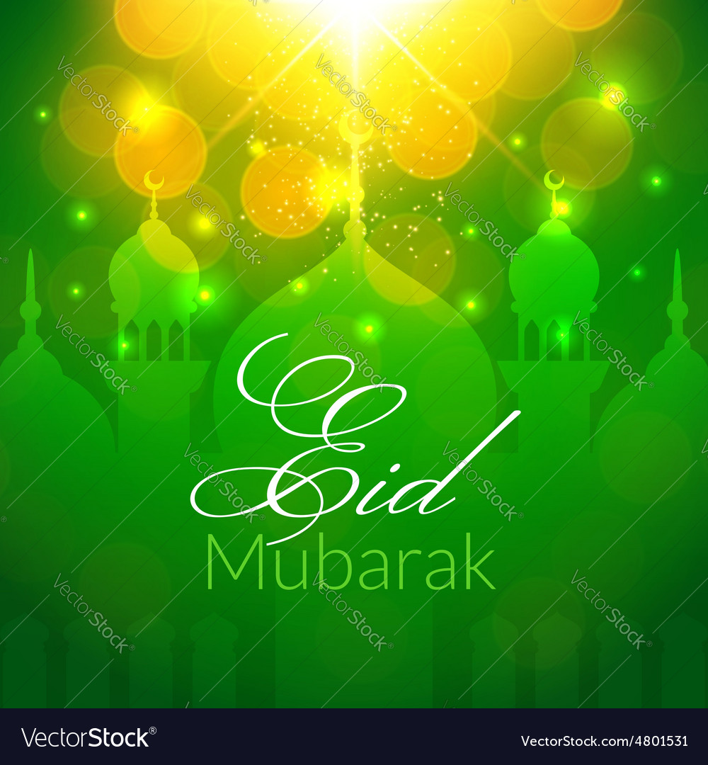 Eid Mubarak Greeting Card With Mosque Royalty Free Vector