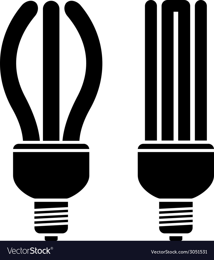 Fluorescent compact bulbs vector image