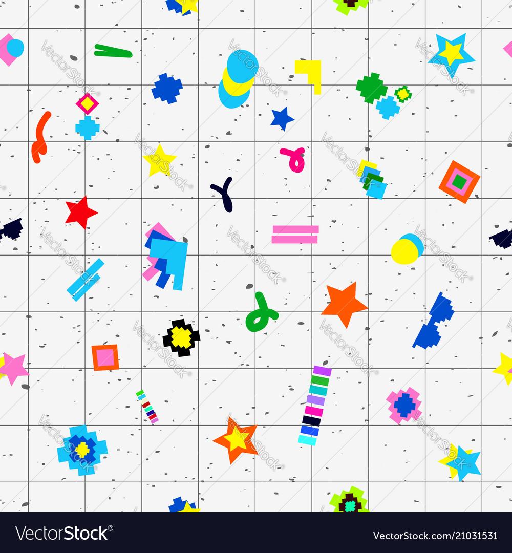 Geometric objects seamless pattern 80s design