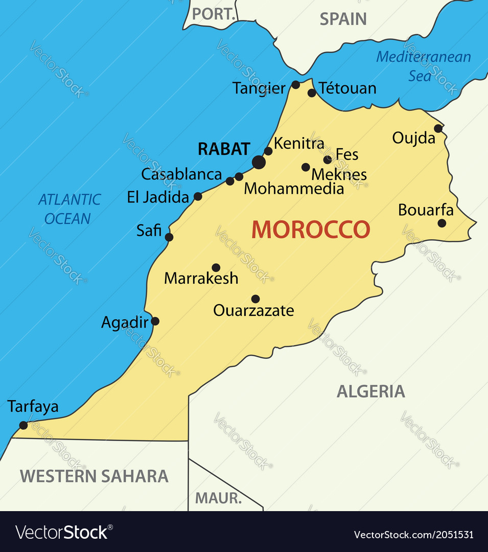 Morocco On The Map Kingdom of Morocco   map Royalty Free Vector Image