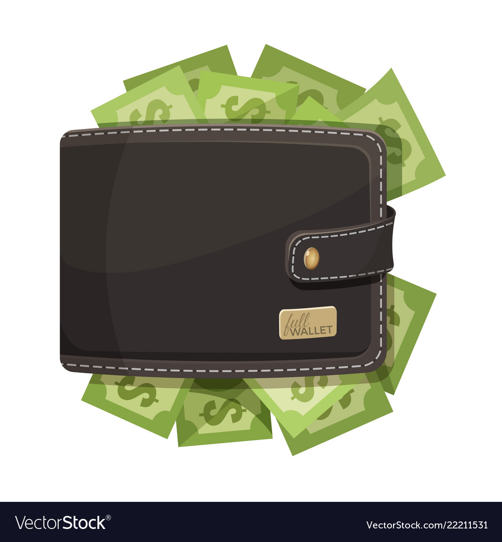 Leather wallet icon full of money emblem