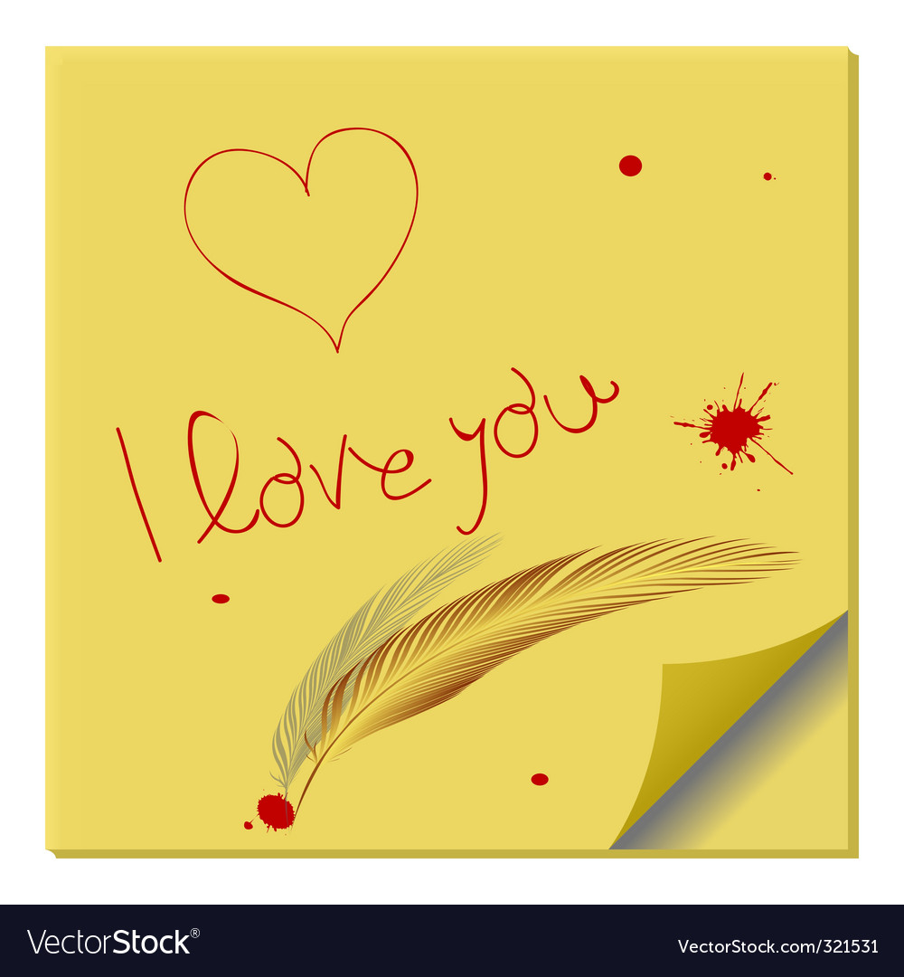 Love Message On Paper Note Royalty Free Vector Image