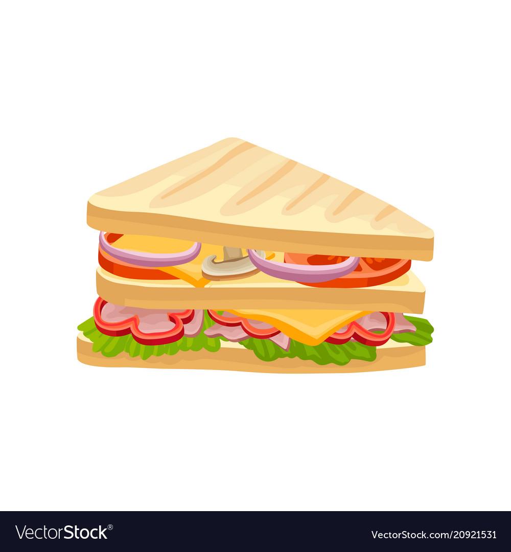Multi-layered sandwich with fresh vegetables ham