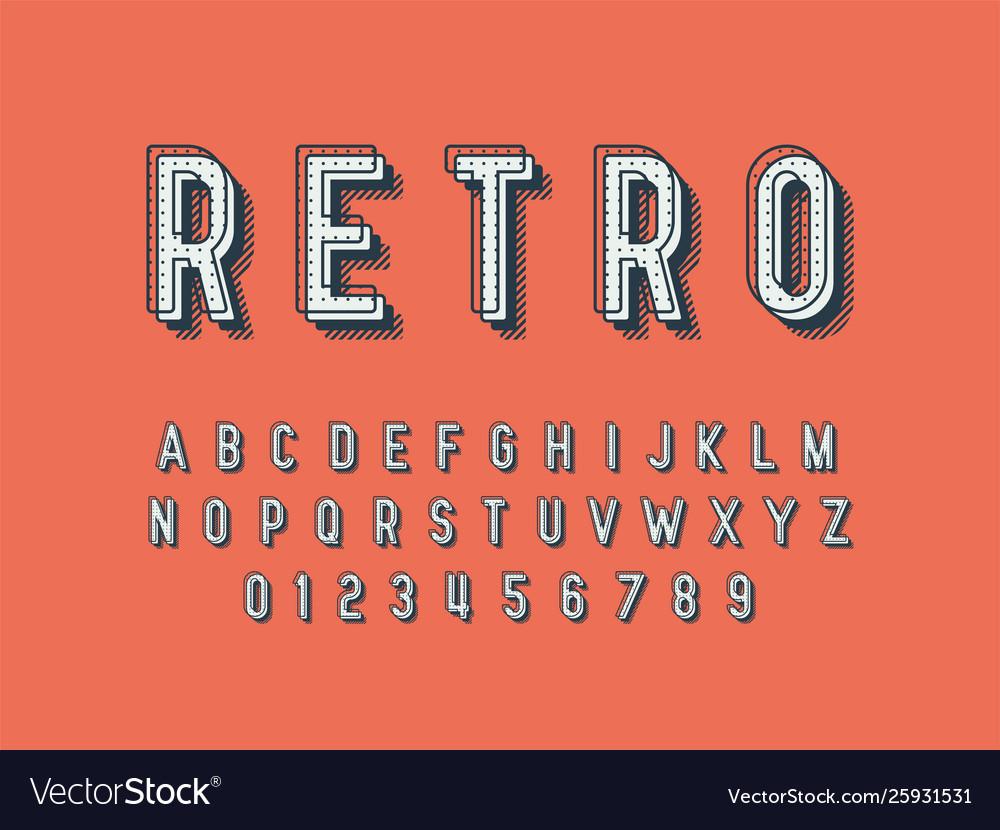 Retro font and alphabet stock