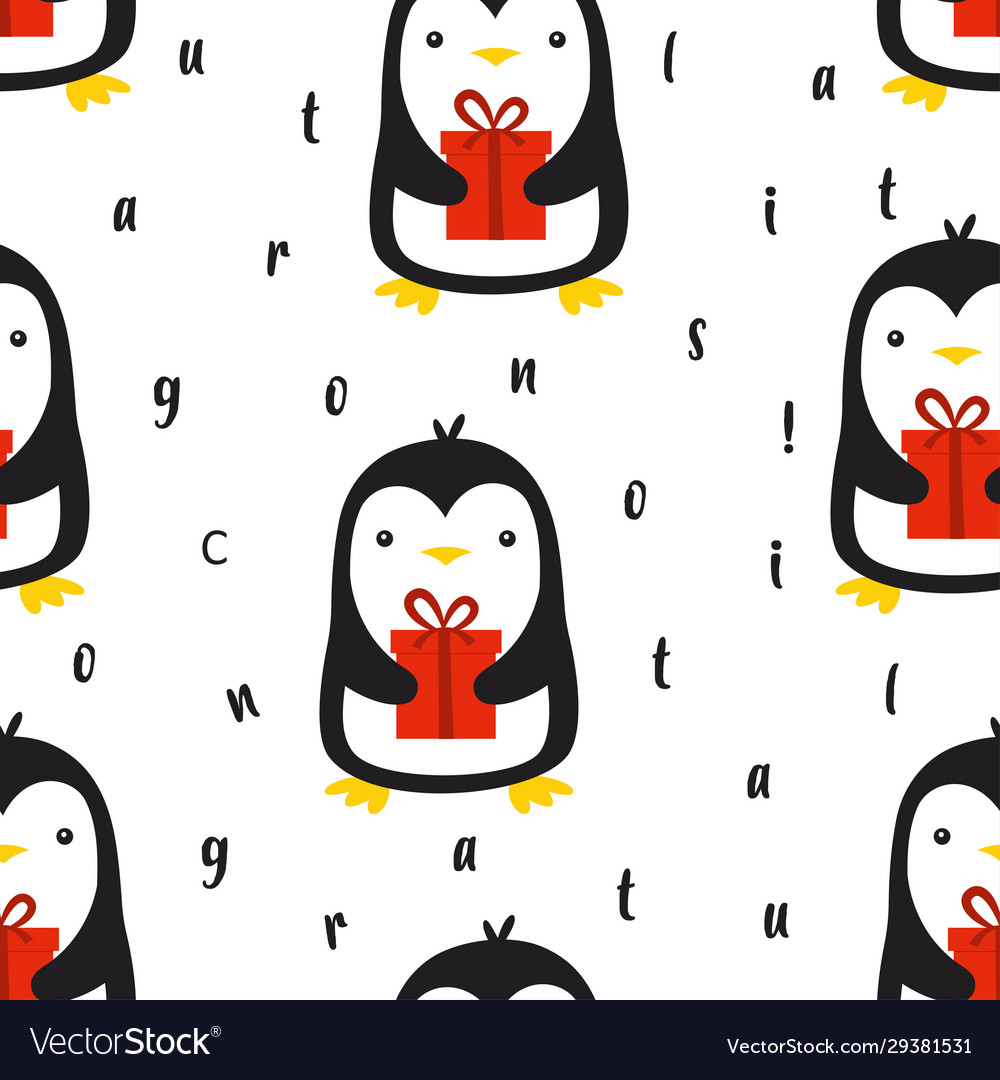 Seamless pattern with cute penguin