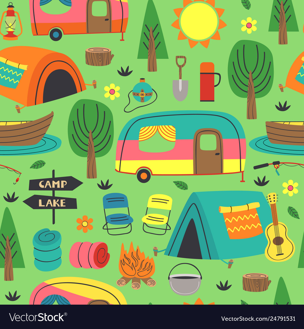 Seamless pattern with summer camping elements