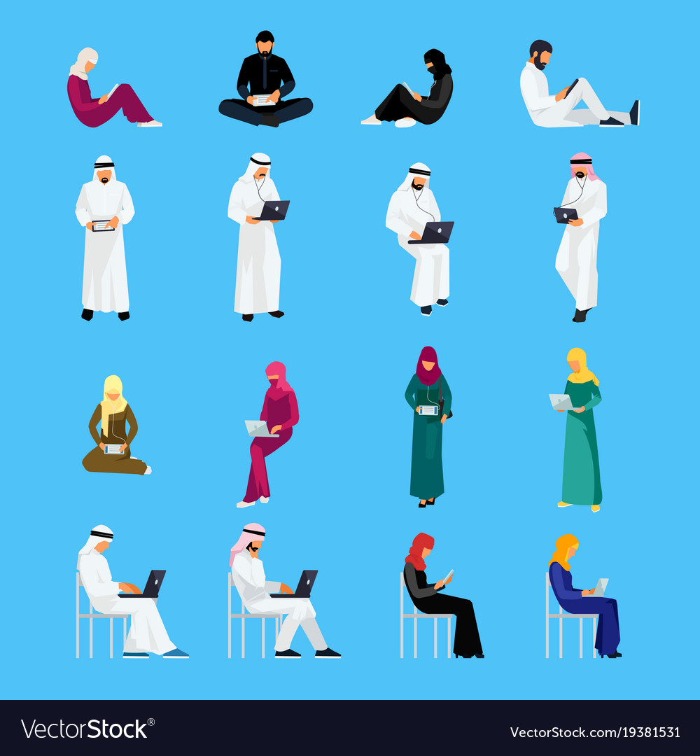 Set of muslim people in a flat style isolated vector image