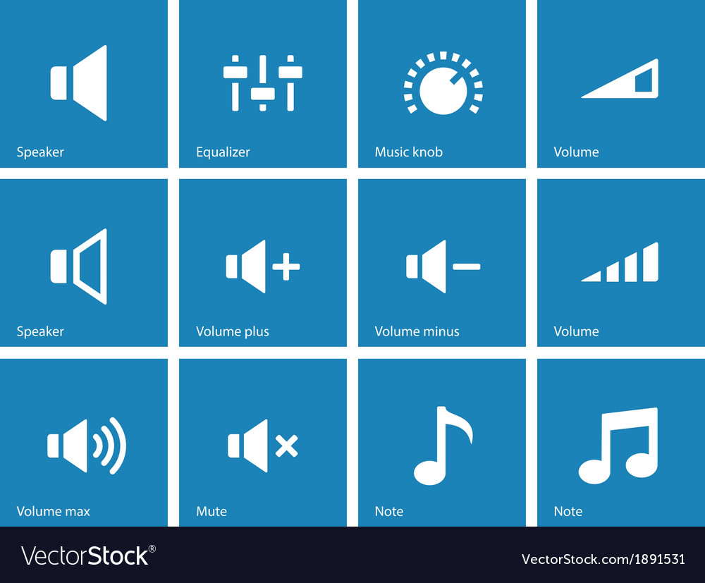 Speaker icons on blue background Volume control vector image