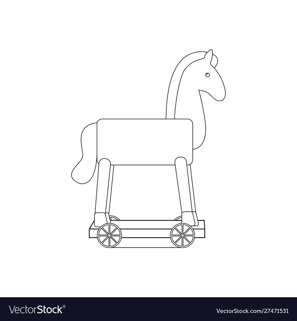 Vintage Rocking Horse Coloring Page Royalty Free Vector