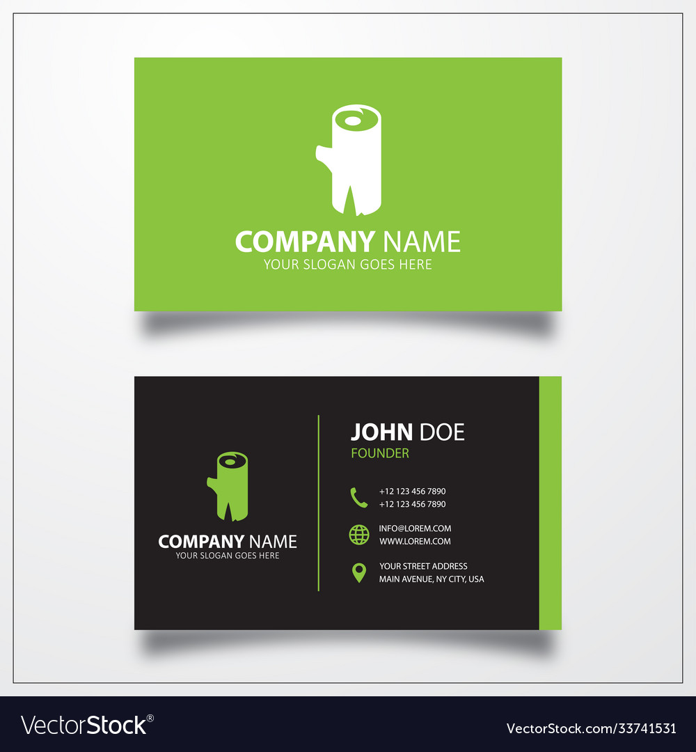 Wood icon business card template