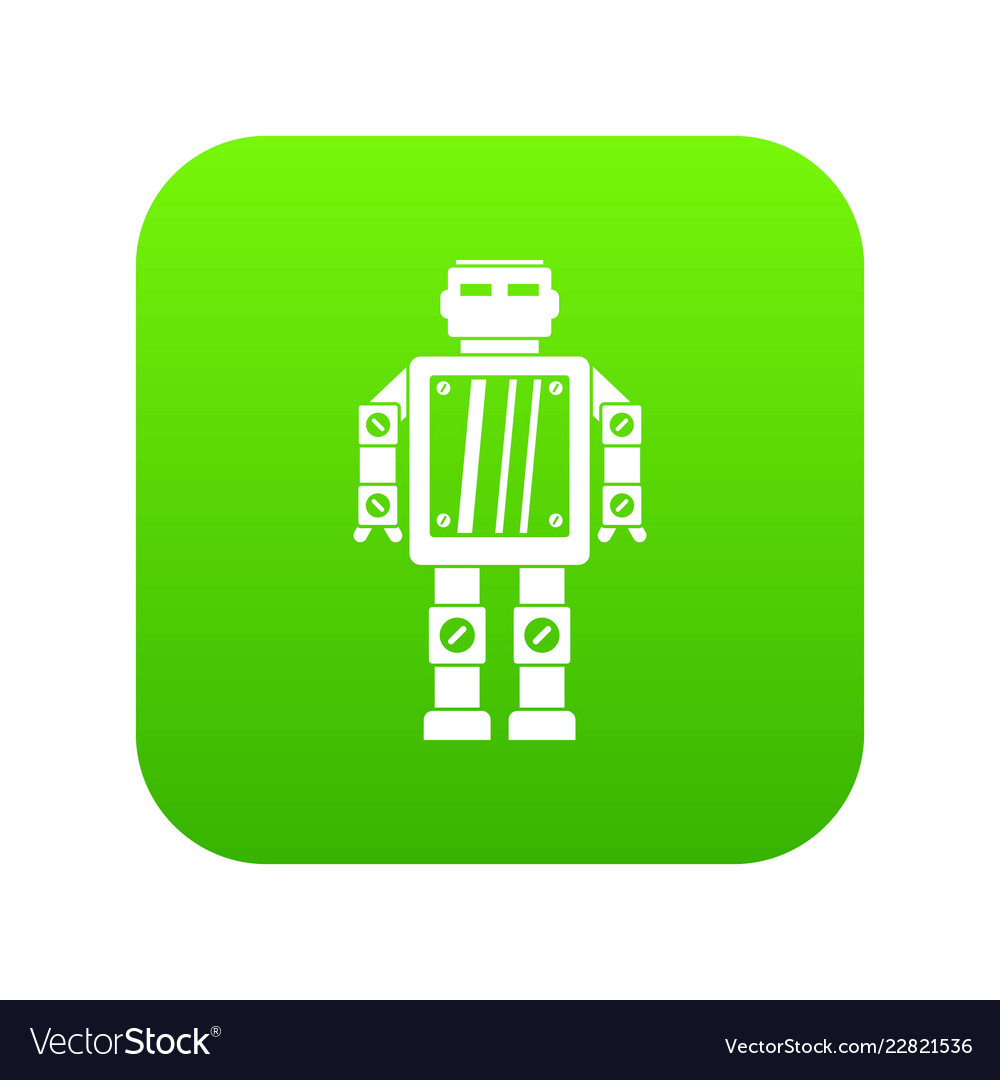 Abstract robot icon digital green