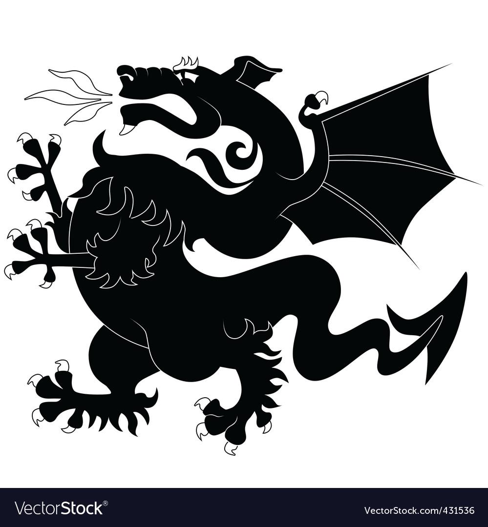 Black ancient dragon vector image