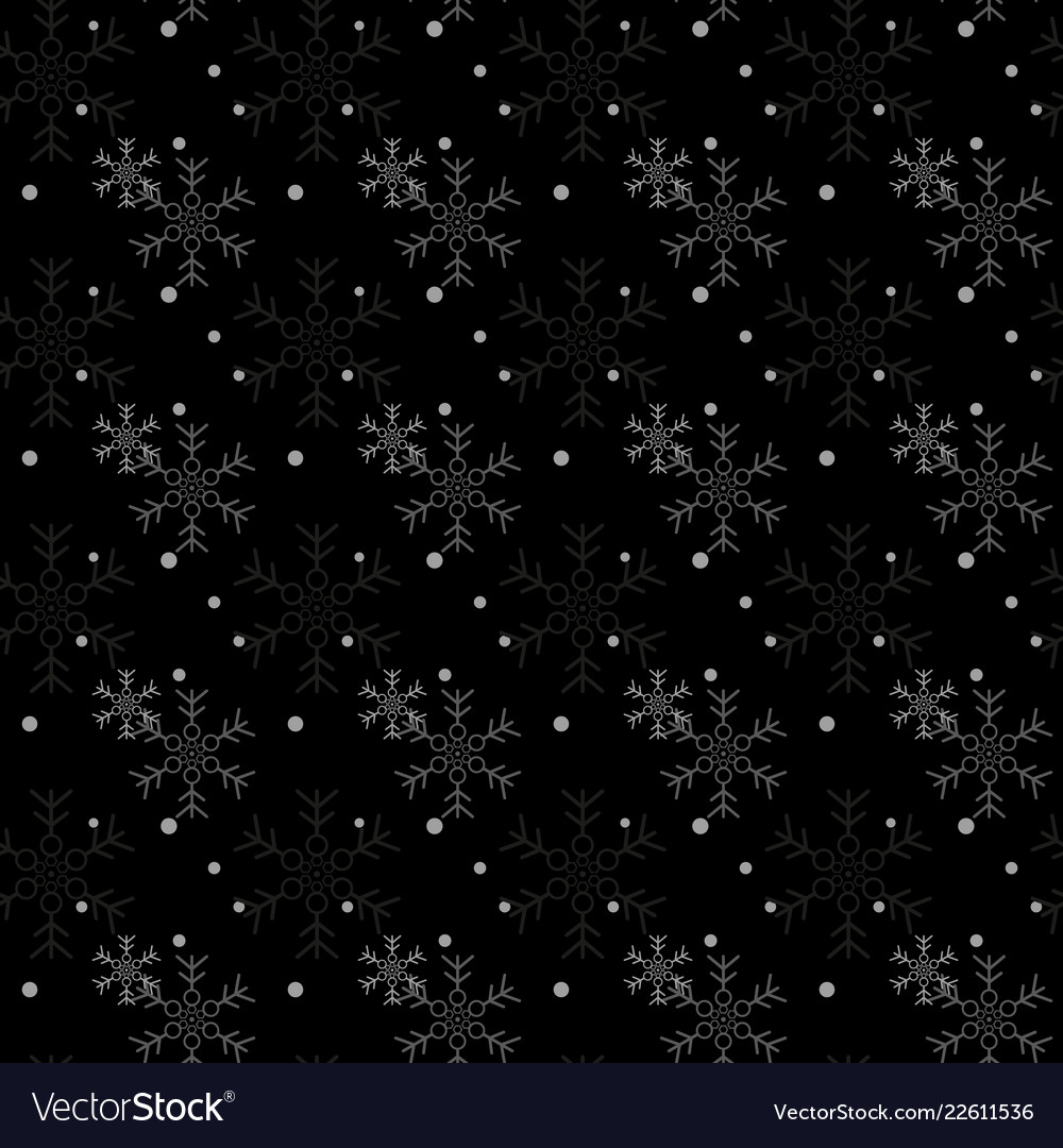 Christmas seamless pattern with snowflakes black